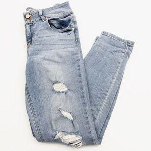 REFUGE Lightwash Distressed Skinny Jeans